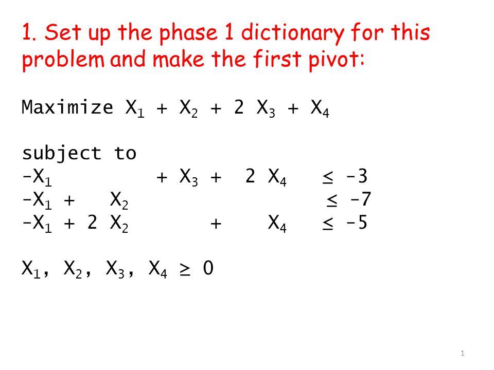 The equations: -X 1 + X 3 + 2 X 4 –x 0 ≤ -3 -X 1 + X 2 -x 0 ≤ -7 -X 1 + 2 X 2 + X 4 –x 0 ≤ -5 Phase 1: Before pivoting to make feasible.
