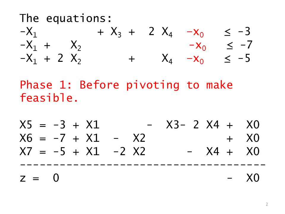 The equations: -X 1 + X 3 + 2 X 4 –x 0 ≤ -3 -X 1 + X 2 -x 0 ≤ -7 -X 1 + 2 X 2 + X 4 –x 0 ≤ -5 Phase 1: Before pivoting to make feasible.