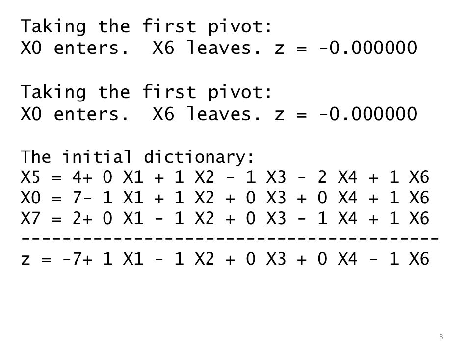 Taking the first pivot: X0 enters. X6 leaves. z = -0.000000 Taking the first pivot: X0 enters.