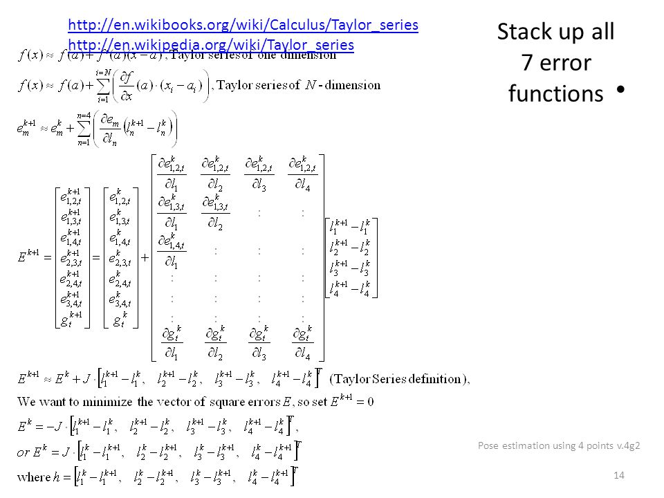 Stack up all 7 error functions Pose estimation using 4 points v.4g