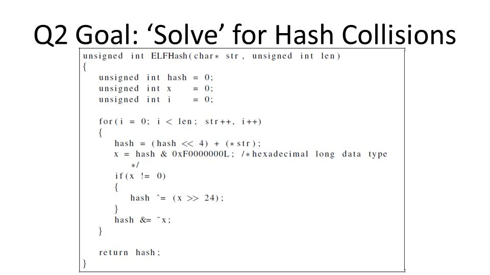 Q2 Goal: 'Solve' for Hash Collisions