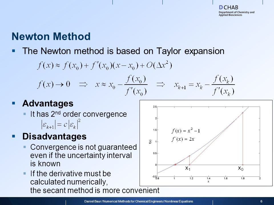 Newton Method  The Newton method is based on Taylor expansion  Advantages  It has 2 nd order convergence  Disadvantages  Convergence is not guara
