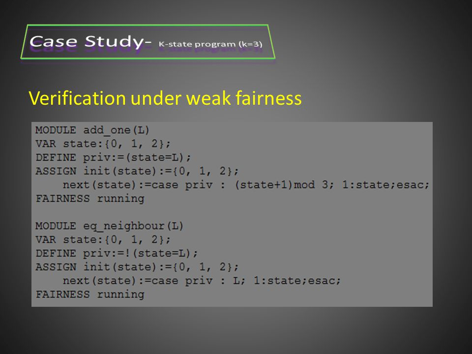 Verification under weak fairness Two actions: x0= xn -> x0=(x0+1) mod K xi!=xi-1->xi=x(i-1)