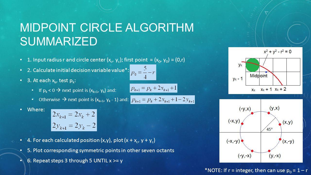 MIDPOINT CIRCLE ALGORITHM SUMMARIZED 1.