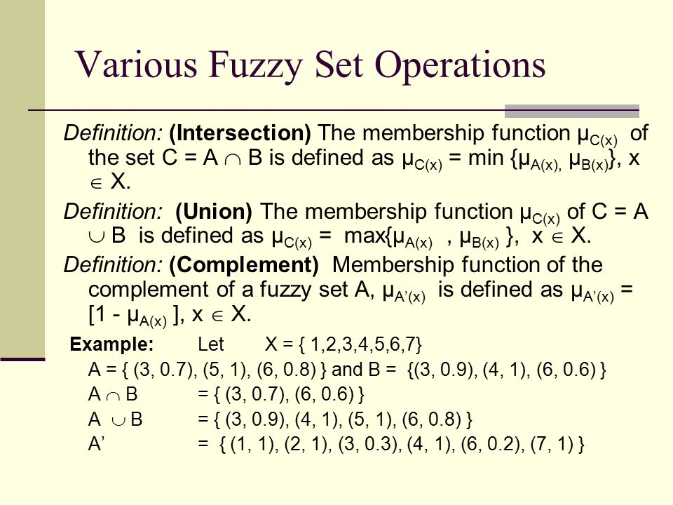Various Fuzzy Set Operations Definition: (Intersection) The membership function µ C(x) of the set C = A  B is defined as µ C(x) = min {µ A(x), µ B(x)