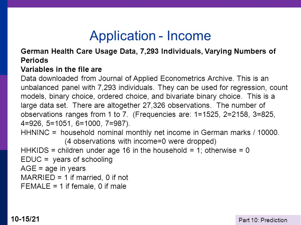 Part 10: Prediction 10-15/21 Application - Income German Health Care Usage Data, 7,293 Individuals, Varying Numbers of Periods Variables in the file a