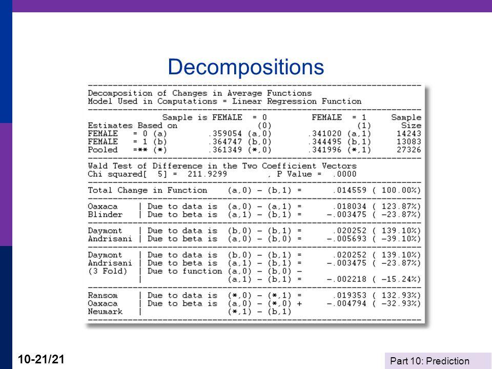 Part 10: Prediction 10-21/21 Decompositions