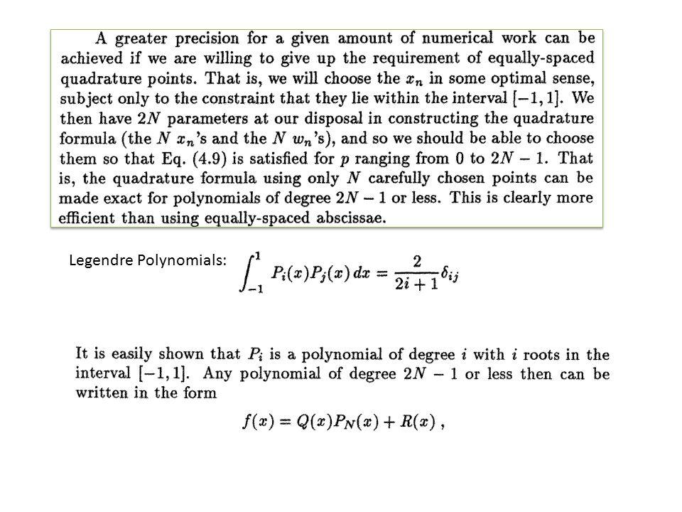 Legendre Polynomials: