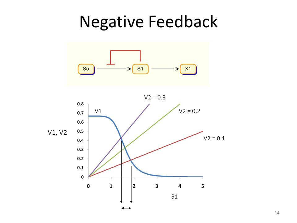 Negative Feedback V1, V2 V1 V2 = 0.3 V2 = 0.2 V2 = 0.1 S1 14