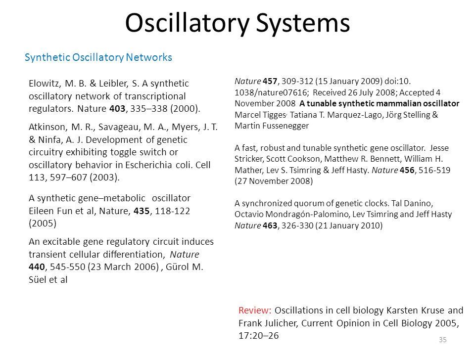 Oscillatory Systems Atkinson, M. R., Savageau, M.