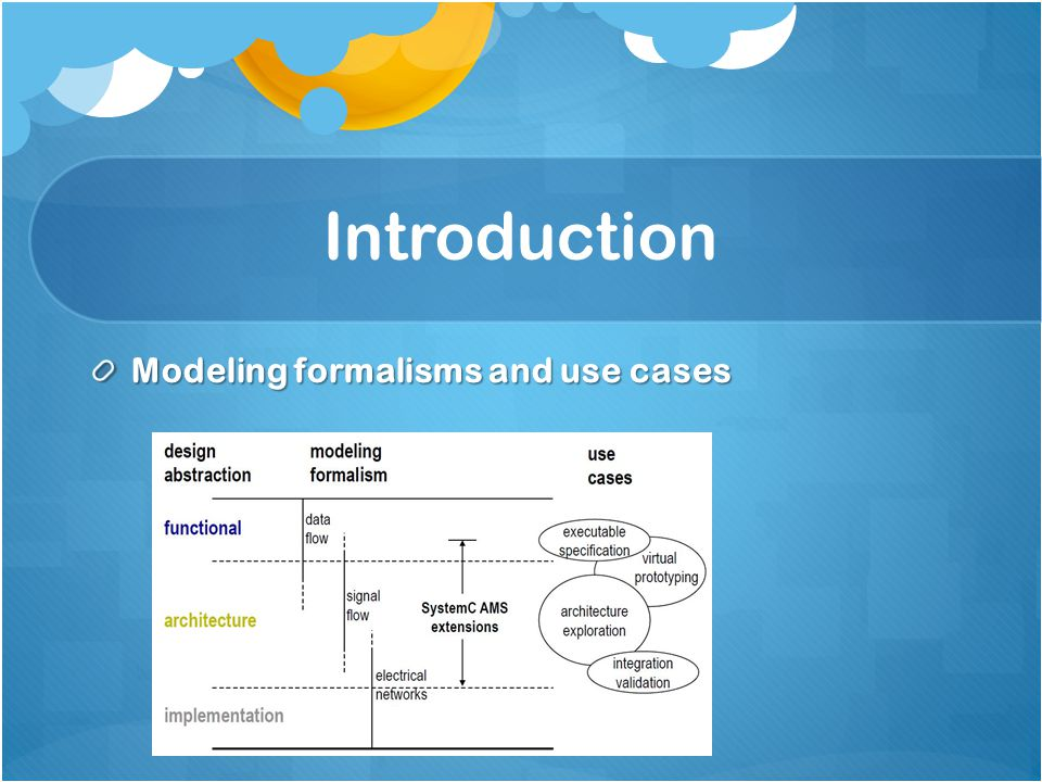 Introduction Modeling formalisms and use cases