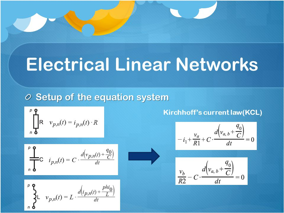 Setup of the equation system Kirchhoff's current law(KCL)