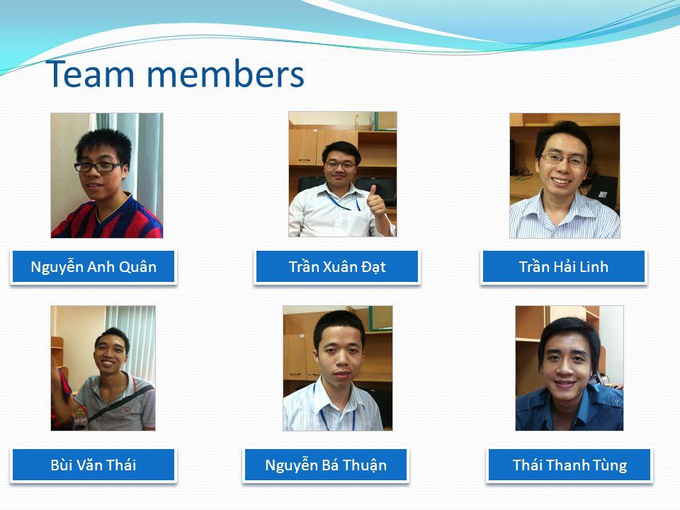 Team members Thái Thanh Tùng Nguyễn Anh Quân Bùi V ă n Thái Trần Xuân Đạt Nguyễn Bá Thuận Trần Hải Linh