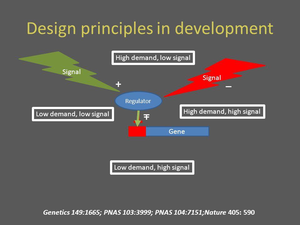 Gene Regulator _ Design principles in development Gene Regulator + High demand, low signal Signal + High demand, high signal Low demand, high signal Low demand, low signal Signal _ Genetics 149:1665; PNAS 103:3999; PNAS 104:7151;Nature 405: 590
