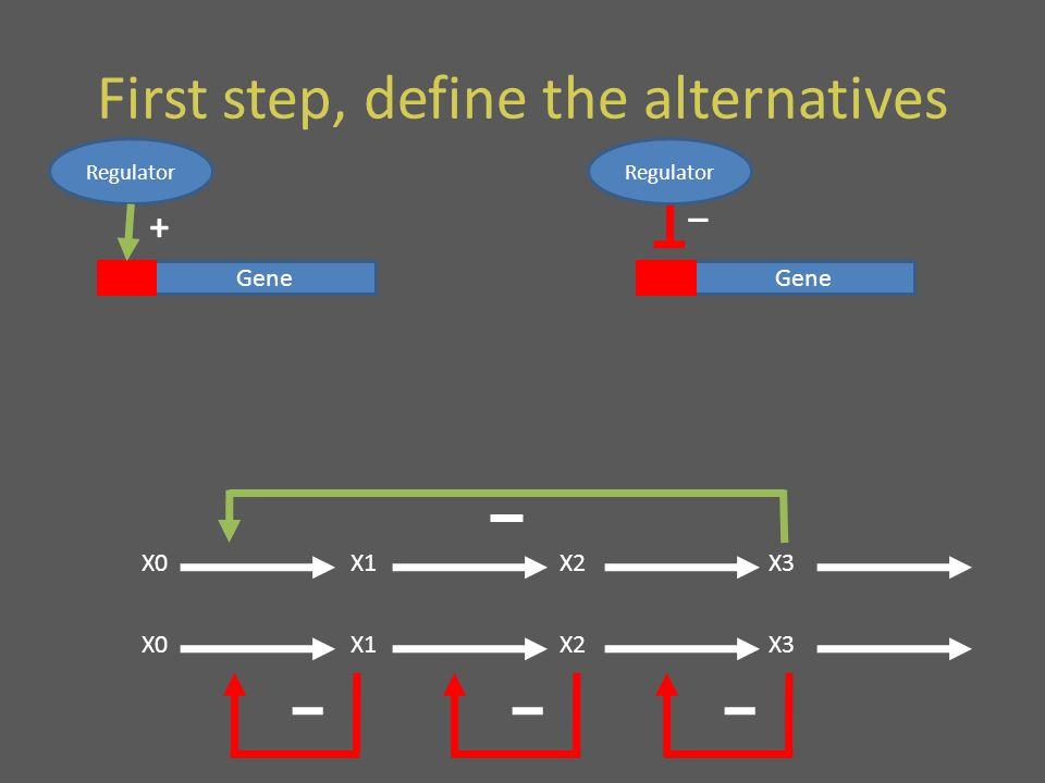 First step, define the alternatives Gene Regulator + Gene Regulator _ X0X1X2X3