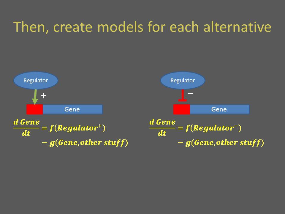 Then, create models for each alternative Gene Regulator + Gene Regulator _