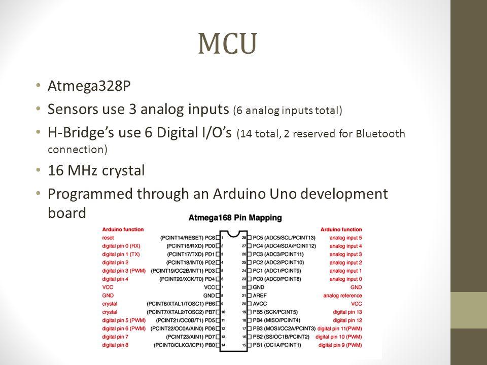 MCU Atmega328P Sensors use 3 analog inputs (6 analog inputs total) H-Bridge's use 6 Digital I/O's (14 total, 2 reserved for Bluetooth connection) 16 M