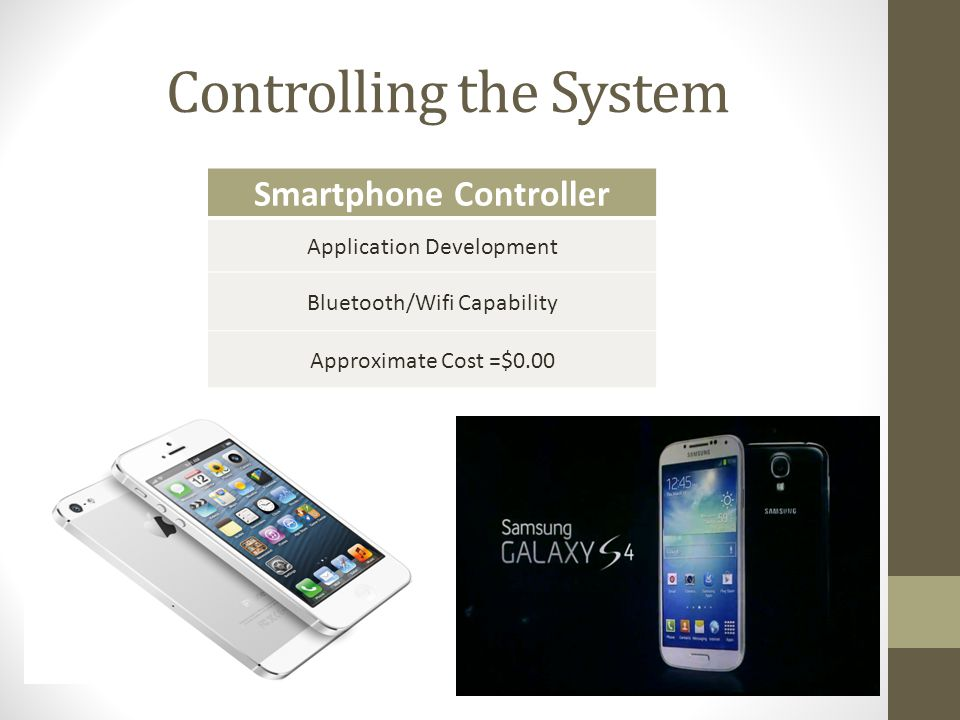 Controlling the System Smartphone Controller Application Development Bluetooth/Wifi Capability Approximate Cost =$0.00
