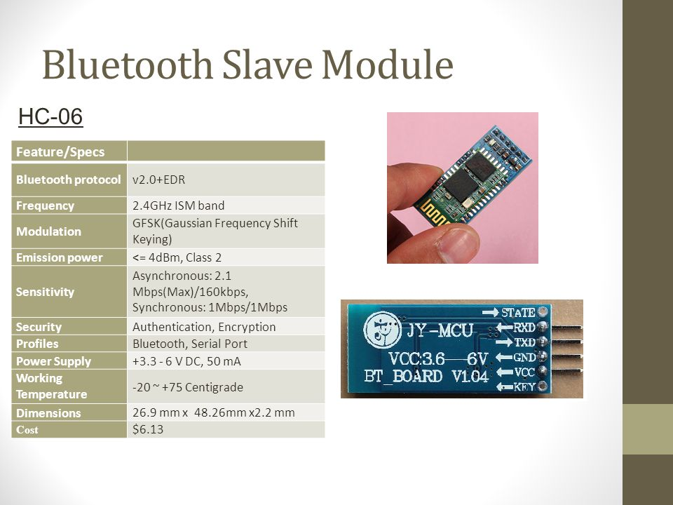 Bluetooth Slave Module Feature/Specs Bluetooth protocolv2.0+EDR Frequency2.4GHz ISM band Modulation GFSK(Gaussian Frequency Shift Keying) Emission pow