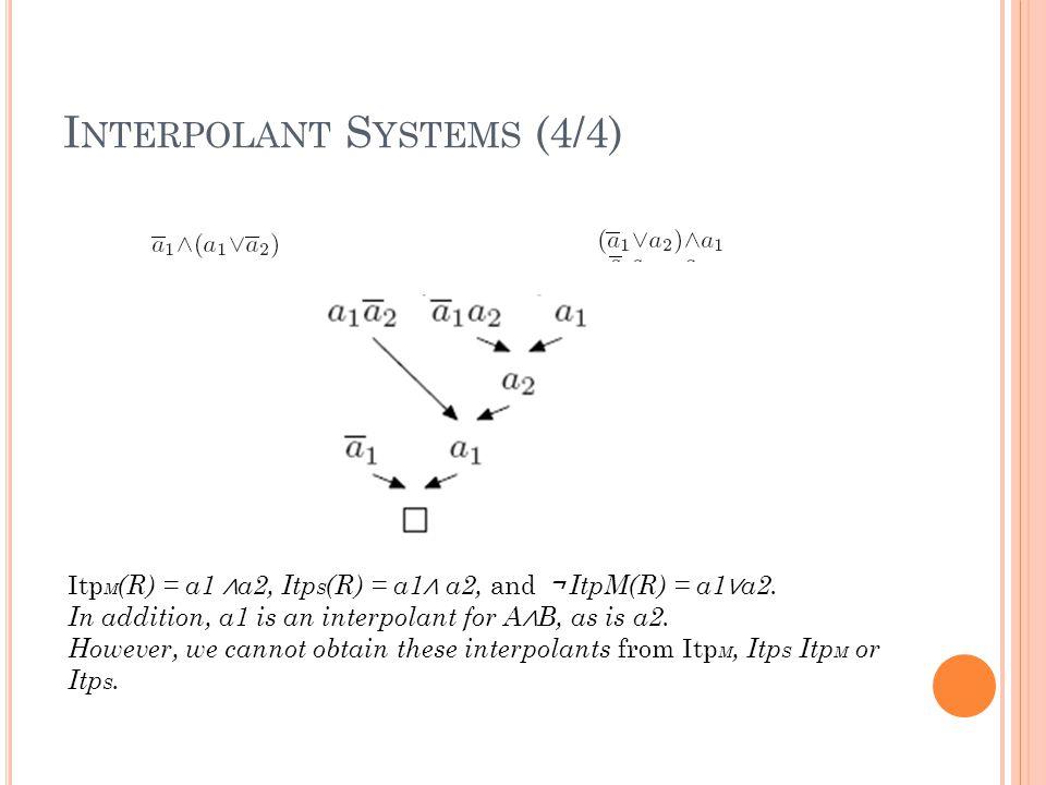 I NTERPOLANT S YSTEMS (4/4) Itp M (R) = a1 ∧ a2, Itp S (R) = a1 ∧ a2, and ¬ ItpM(R) = a1 ∨ a2.