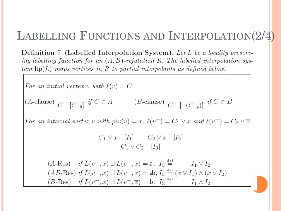 L ABELLING F UNCTIONS AND I NTERPOLATION (2/4)