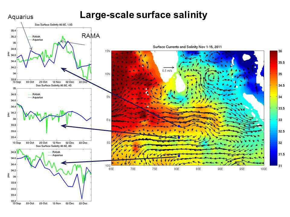 Large-scale surface salinity Aquarius RAMA