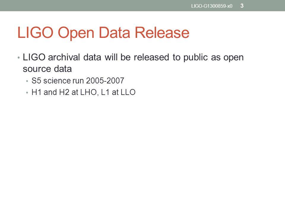 LIGO Open Data Release LIGO archival data will be released to public as open source data S5 science run 2005-2007 H1 and H2 at LHO, L1 at LLO LIGO-G1300859-x0 3