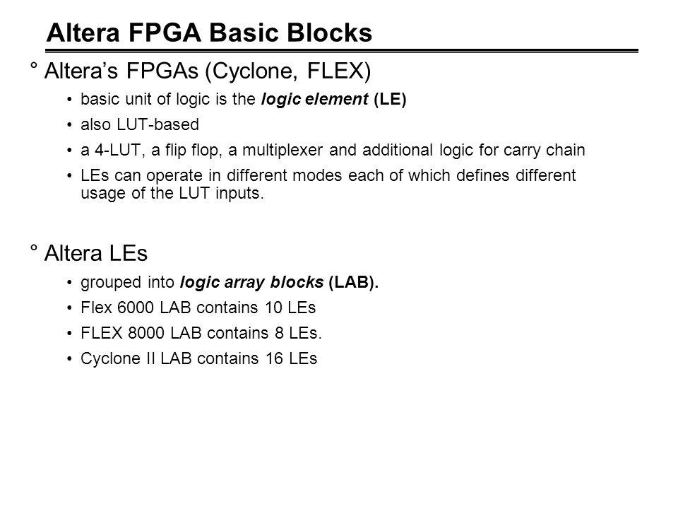 Altera FPGA Basic Blocks °Altera's FPGAs (Cyclone, FLEX) basic unit of logic is the logic element (LE) also LUT-based a 4-LUT, a flip flop, a multiple