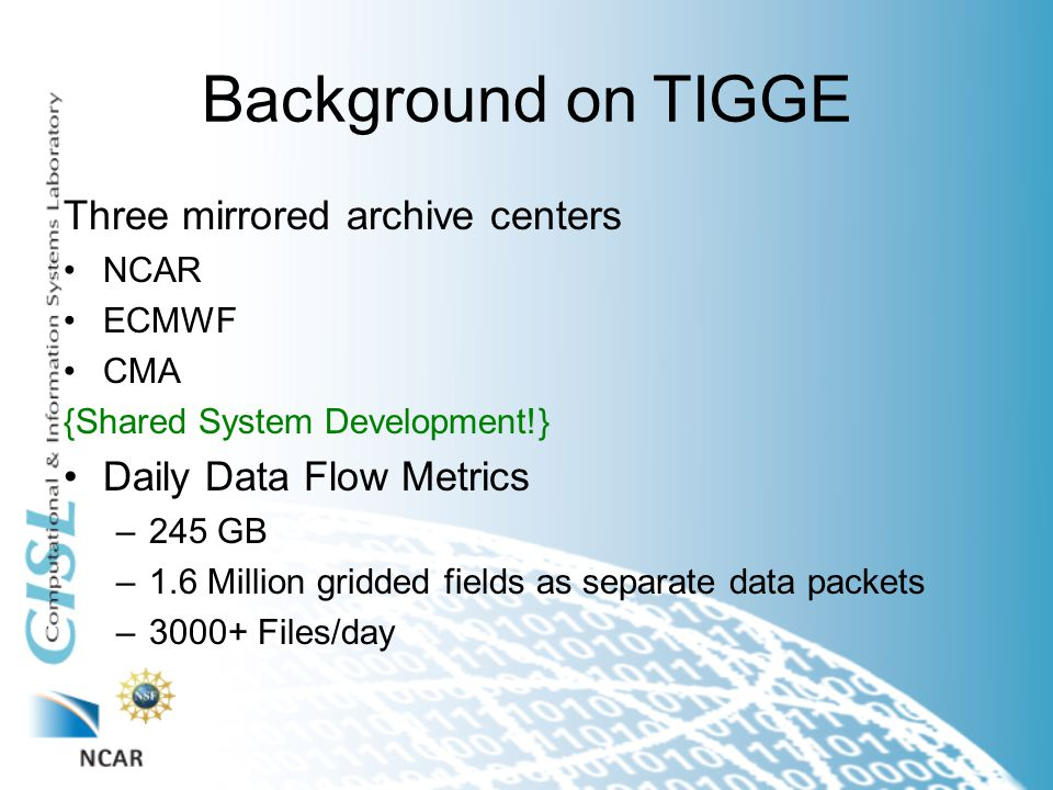Background on TIGGE Three mirrored archive centers NCAR ECMWF CMA {Shared System Development!} Daily Data Flow Metrics –245 GB –1.6 Million gridded fields as separate data packets –3000+ Files/day