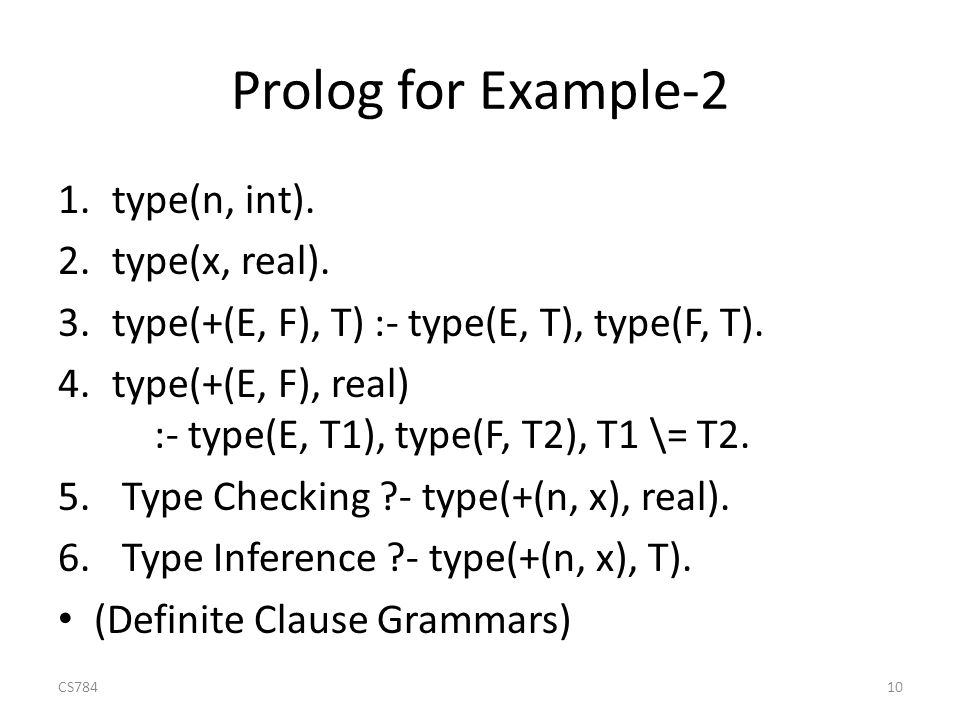 Prolog for Example-2 1.type(n, int). 2.type(x, real).