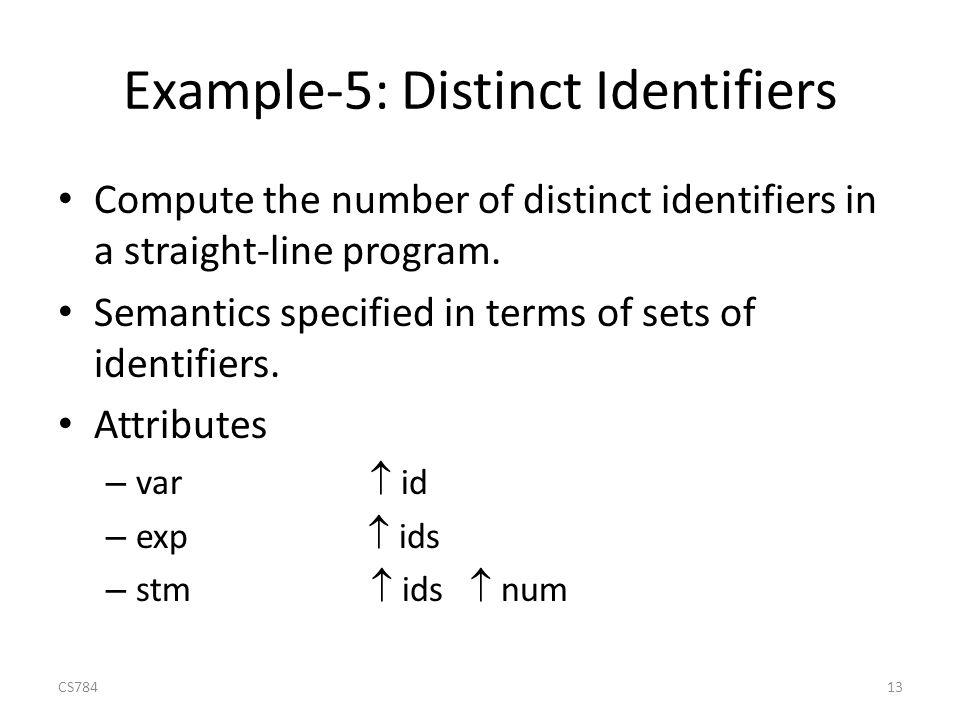 Example-5: Distinct Identifiers Compute the number of distinct identifiers in a straight-line program.