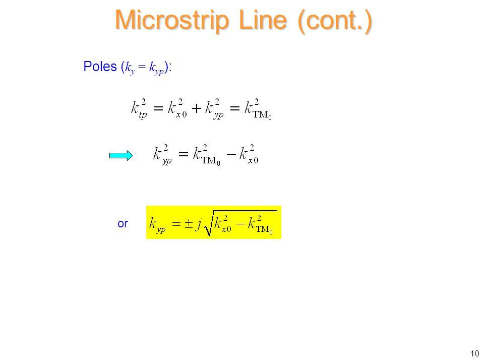Poles ( k y = k yp ): Microstrip Line (cont.) or 10