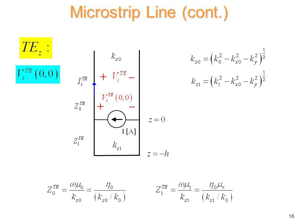 Microstrip Line (cont.) 16
