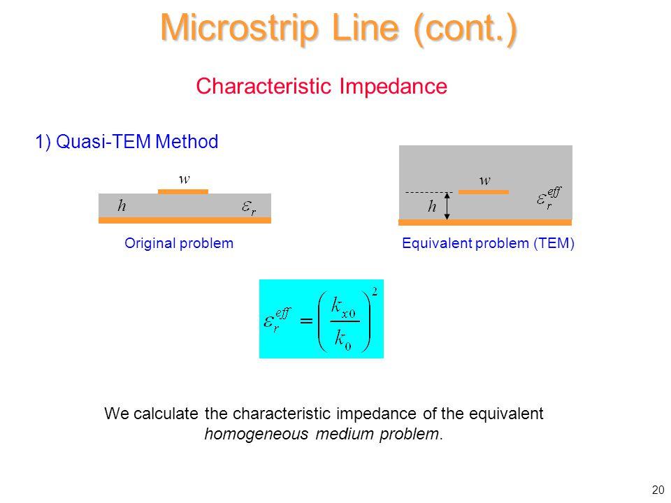 Characteristic Impedance Microstrip Line (cont.) h w Original problem Equivalent problem (TEM) We calculate the characteristic impedance of the equivalent homogeneous medium problem.