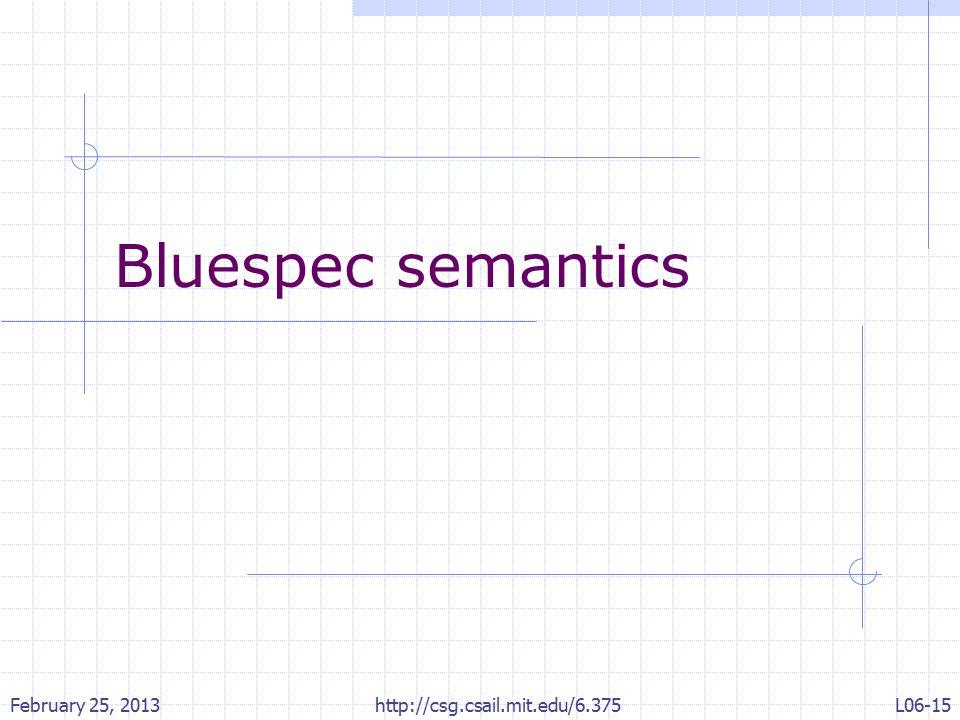 Bluespec semantics February 25, 2013 http://csg.csail.mit.edu/6.375 L06-15
