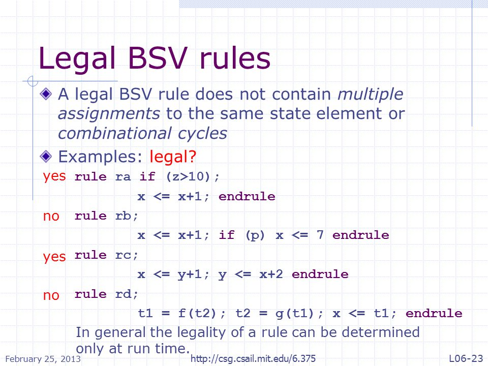 Legal BSV rules A legal BSV rule does not contain multiple assignments to the same state element or combinational cycles Examples: legal.