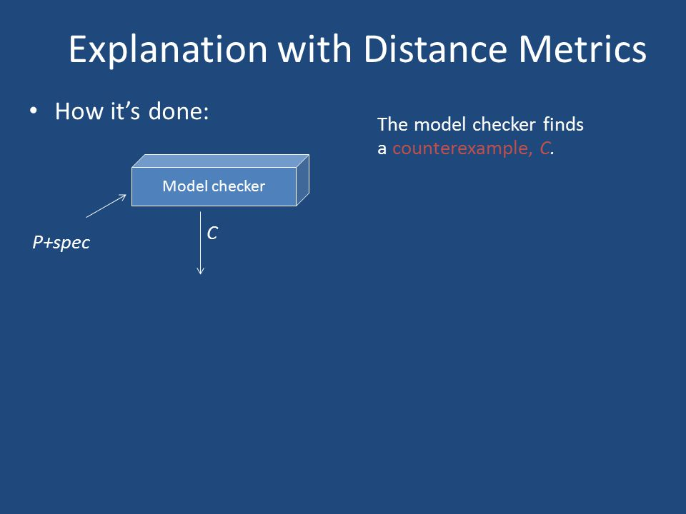 Explanation with Distance Metrics How it's done: Model checker P+spec C The model checker finds a counterexample, C.