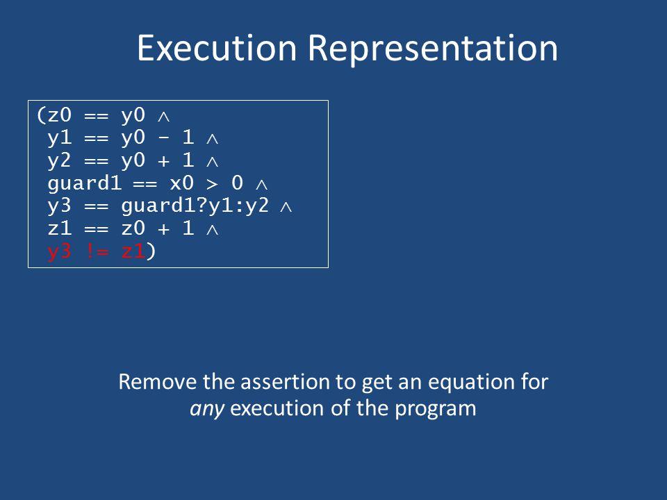 Execution Representation (z0 == y0  y1 == y0 – 1  y2 == y0 + 1  guard1 == x0 > 0  y3 == guard1?y1:y2  z1 == z0 + 1  y3 != z1) Remove the asserti
