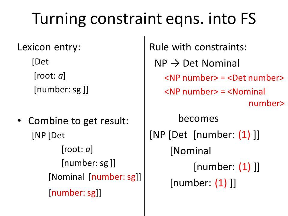 Turning constraint eqns.