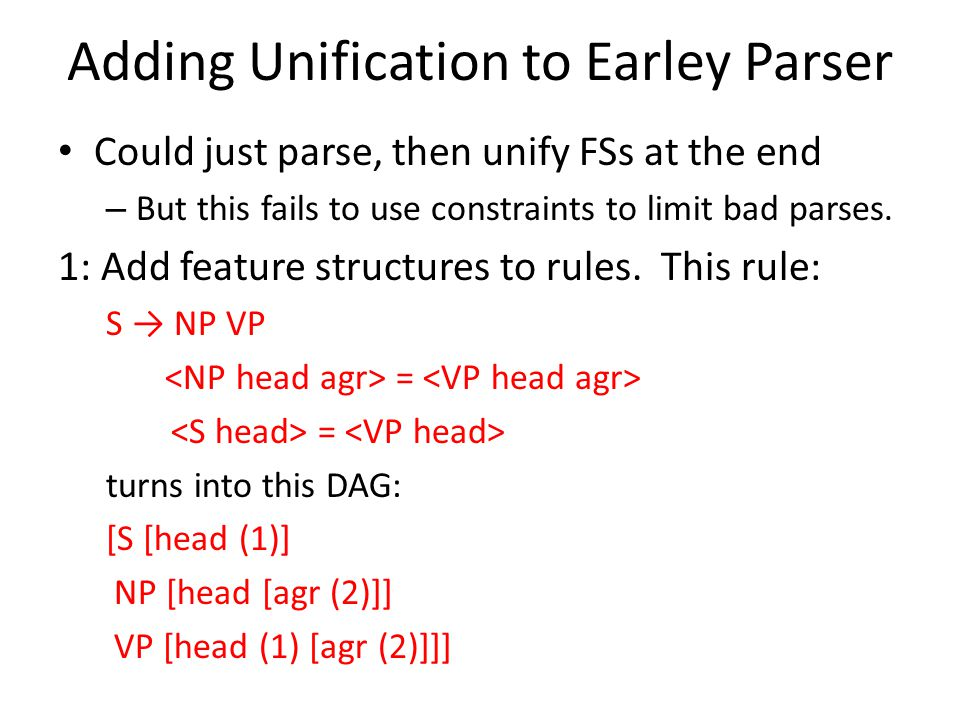 Adding Unification to Earley Parser Could just parse, then unify FSs at the end – But this fails to use constraints to limit bad parses. 1: Add featur