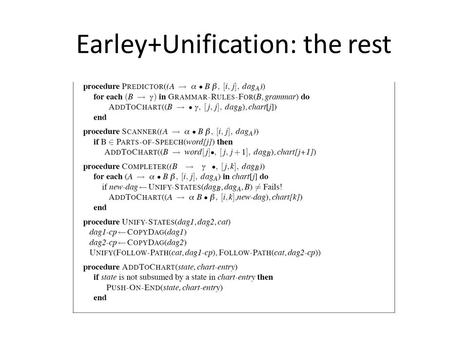 Earley+Unification: the rest