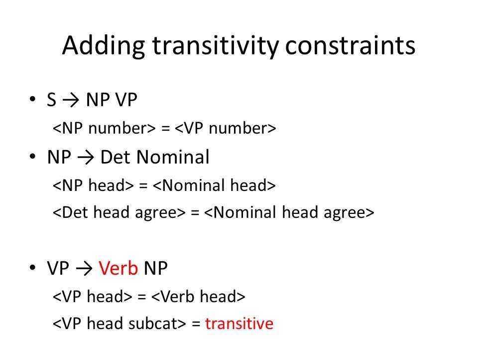 Adding transitivity constraints S → NP VP = NP → Det Nominal = VP → Verb NP = = transitive