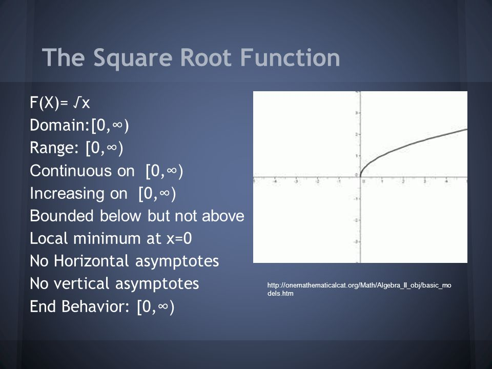 The Square Root Function F(X)= √x Domain:[0, ∞ ) Range: [0, ∞) Continuous on [0, ∞) Increasing on [0, ∞) Bounded below but not above Local minimum at x=0 No Horizontal asymptotes No vertical asymptotes End Behavior: [0, ∞)   dels.htm