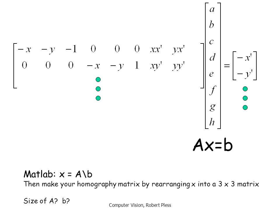 Computer Vision, Robert Pless Ax=b Matlab: x = A\b Then make your homography matrix by rearranging x into a 3 x 3 matrix Size of A? b?