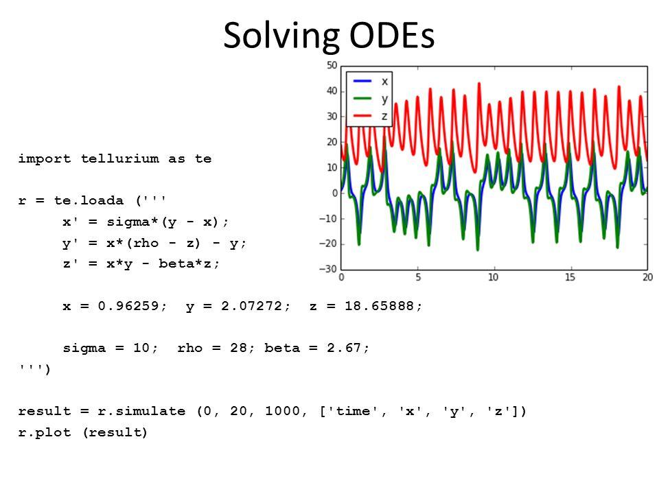 Solving ODEs import tellurium as te r = te.loada (''' x' = sigma*(y - x); y' = x*(rho - z) - y; z' = x*y - beta*z; x = 0.96259; y = 2.07272; z = 18.65