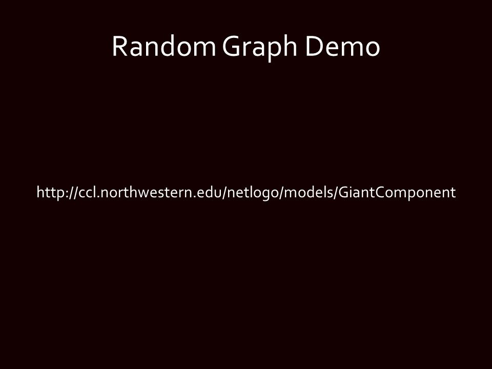 Random Graph Demo http://ccl.northwestern.edu/netlogo/models/GiantComponent