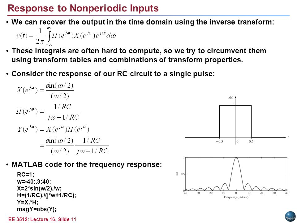 EE 3512: Lecture 16, Slide 11 Response to Nonperiodic Inputs We can recover the output in the time domain using the inverse transform: These integrals