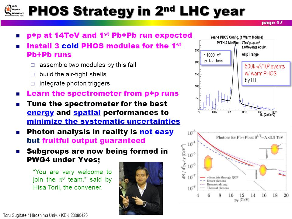 Toru Sugitate / Hiroshima Univ. / KEK-20080425 page 17 PHOS Strategy in 2 nd LHC year p+p at 14TeV and 1 st Pb+Pb run expected Install 3 cold PHOS mod