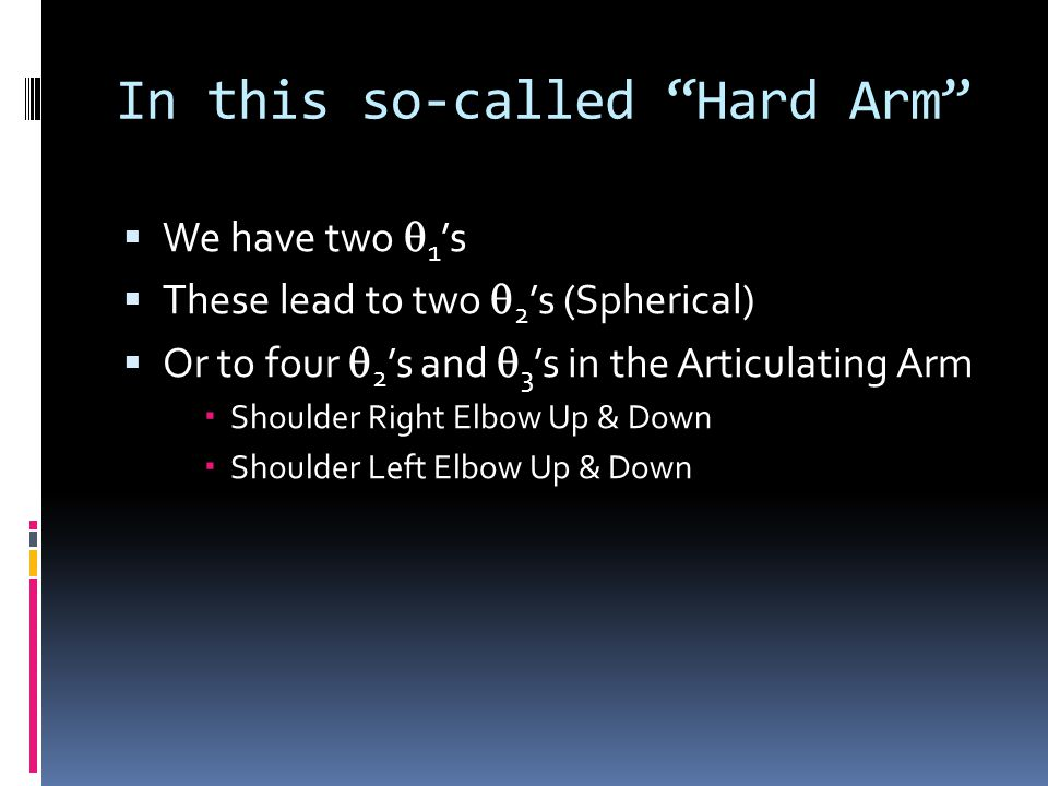 In this so-called Hard Arm  We have two  1 's  These lead to two  2 's (Spherical)  Or to four  2 's and  3 's in the Articulating Arm  Shoulder Right Elbow Up & Down  Shoulder Left Elbow Up & Down