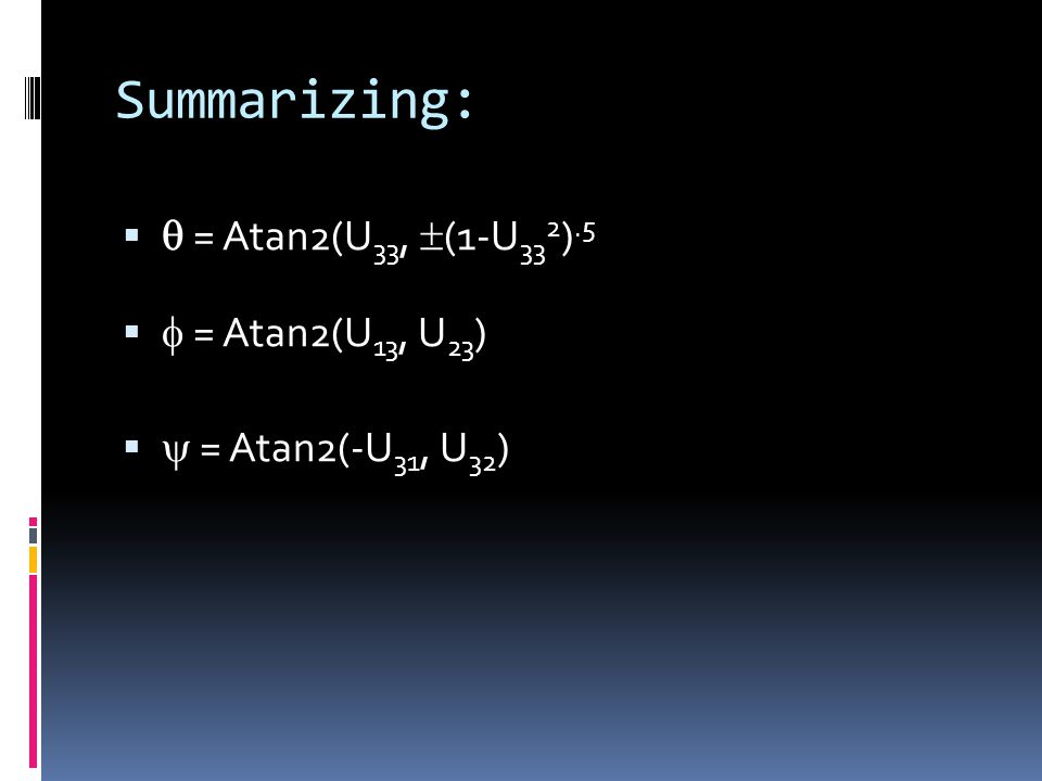 Summarizing:   = Atan2(U 33,  (1-U 33 2 ).5   = Atan2(U 13, U 23 )   = Atan2(-U 31, U 32 )